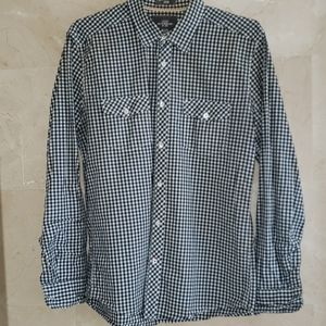 MEN'S H&M BLACK WHITE CHECKERED BUTTON DOWN SHIRT